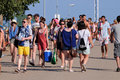 Tourists arrive to the beach and camping of the fib festival benicasim spain july on july in benicasim spain this is Royalty Free Stock Images