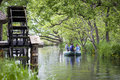 Tourists on boat trip at Daio Wasabi Farm, Hokata Stock Image