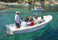 Tourists on boat vis croatia august to the blue hole cave Stock Photography
