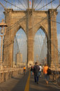 Tourists on Brooklyn Bridge Royalty Free Stock Photo
