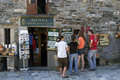 Tourists buying souvenirs in o cebreiro galicia spain province lugo province autonomous region community municipality mountain Stock Images