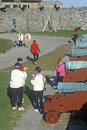 Tourists and cannons inside Fort Ticonderoga Stock Image