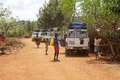 Tourists cars village konso ethnic group tribal people ethiopia Stock Photo
