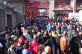 Tourists at chinese temple fairs view of traditional spring festival tianjin china Royalty Free Stock Images