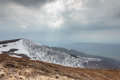 Tourists climb to the top of Runa mountain in Carpathians Royalty Free Stock Photo