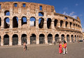 Tourists at the Colosseum in Rome Stock Photo