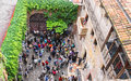 Tourists in the courtyard of Juliet's house. Verona, Italy Royalty Free Stock Photo