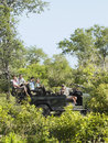 Tourists and driver in jeep on safari side view of four Royalty Free Stock Photo