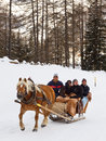 Tourists Enjoy a Horse-Drawn Sleigh Ride Stock Photos