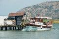Tourists enjoy river cruise by the Dalyan river in Mugla, Turkey.