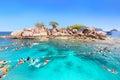 Tourists are enjoy snorkeling underwater at Koh Yak Lek (Island Royalty Free Stock Photo
