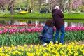 Tourists enjoy taking pictures of tulips at Keukenhof garden par Royalty Free Stock Photo