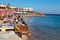 Tourists enjoying sinai coast dahab january the in dahab egypt dahab is a popular destination for diving holidays Royalty Free Stock Photography