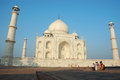Tourists are enjoying Taj Mahal view,great monument listed as UNESCO World Heritage Royalty Free Stock Photo