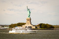 Tourists flocking to the Statue of Liberty, New York Royalty Free Stock Photos