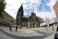 Tourists in front of Cologne Cathedral Royalty Free Stock Image