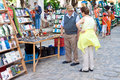 Tourists at a Havana street market Royalty Free Stock Photography