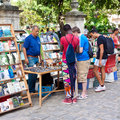 Tourists at a Havana street market Stock Images