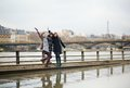 Tourists having fun in Paris Stock Photography