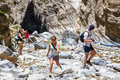 Tourists hike in Samaria Gorge in central Crete, Greece