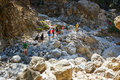 Tourists hike in Samaria Gorge in central Crete, Greece. The national park is a UNESCO Biosph