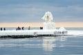 Tourists on icy lake michigan Stock Image