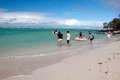 Tourists on the ile aux cerfs mauritius – june visiting beach june in is an island near Stock Photography
