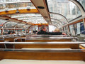 Tourists inside the pleasure boat in Amsterdam . Netherlands Royalty Free Stock Photo
