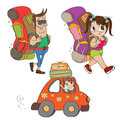 Tourists items set isolatd on white background vector illustration Royalty Free Stock Image