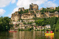 Tourists kayaking on river Dordogne in France Royalty Free Stock Photo