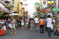 Tourists on Khao San Road in Bangkok Royalty Free Stock Photos