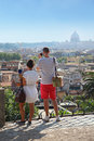 Tourists makes photo of beautiful panorama Royalty Free Stock Image