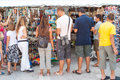 Tourists on the market in zadar croatia front of newsstands with papers and postcards streets is seat of roman Stock Photo