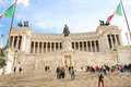 Tourists at the monument to Victor Emmanuel II. Rome, Italy Royalty Free Stock Photo