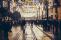 Tourists and people walking at christmas night in Historical center of Seville, Spain Royalty Free Stock Photo