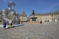 Tourists on the Place de la Bourse in Bordeaux, France Royalty Free Stock Photo