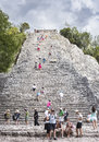 Tourists at the Pyramid Nohoch Mul of the Mayan Coba Ruins, Mexi