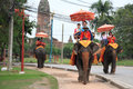 Tourists ride elephants to sightsee ancient city Stock Photos