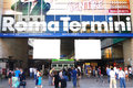 Tourists rome train station termini entrance main of roma with coming and going of travellers italy th june Royalty Free Stock Photo
