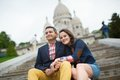Tourists at the sacre coeur in paris near Stock Photography