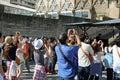 Tourists at sagrada familia church in barcelona designed by antonio gaudi Royalty Free Stock Photography
