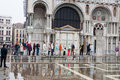 Tourists at Saint Mark Cathedral Venice Royalty Free Stock Images