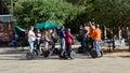 Tourists sightseeing on a segway tour of san antonio texas Royalty Free Stock Photo