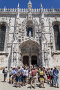 Tourists South Portal Jeronimos Monastery Lisbon Royalty Free Stock Photography
