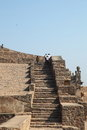 Tourists on stairs, Golconda Fort, Hyderabad Stock Image