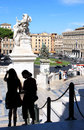 Tourists at the stairs of the National Monument, Rome Royalty Free Stock Photo