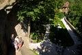 Tourists on steps of Ksiaz Castle, Poland Royalty Free Stock Photo