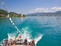 Tourists on the stern of the ship worthersee aust lake worth austria Royalty Free Stock Images