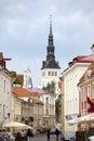 Tourists on the street of the old city on june in tallinn estonia Stock Image