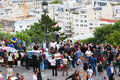 Tourists stroll in montmartre paris aug near basilica sacre coeur cathedral Stock Photos